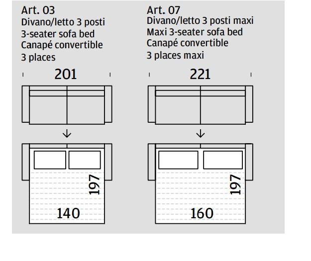 Dimensioni Divano Letto 3 Posti.Divano A Letto A Tre Posti Sven Di Felis Rivestito In Tessuto 100