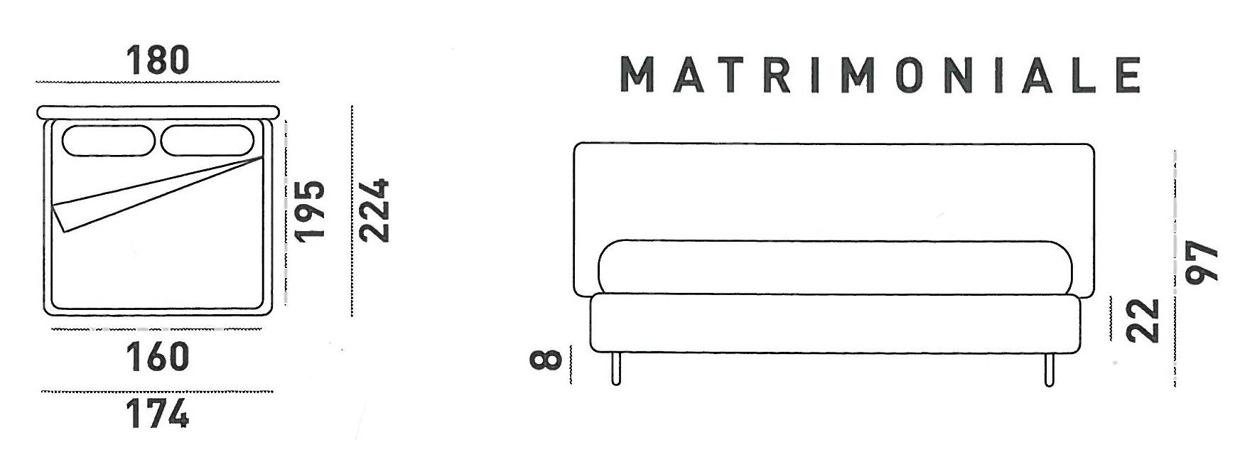 Letto matrimoniale gondola in ecopelle di lettissimi - Altezza letto matrimoniale ...