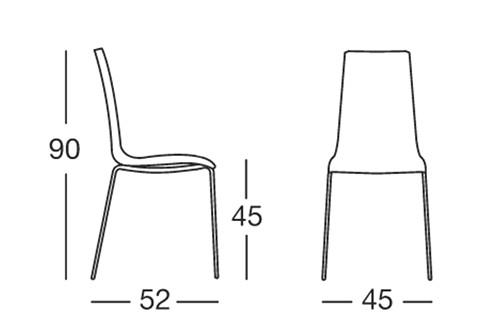 Sedia mannequin 4 gambe di scab design in polipropilene for Altezza sedia