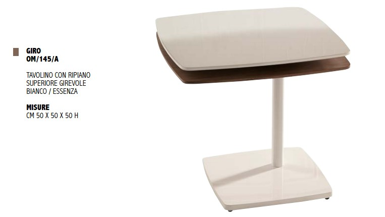 Tavolino Giro da salotto di Stones con ripiano superiore girevole