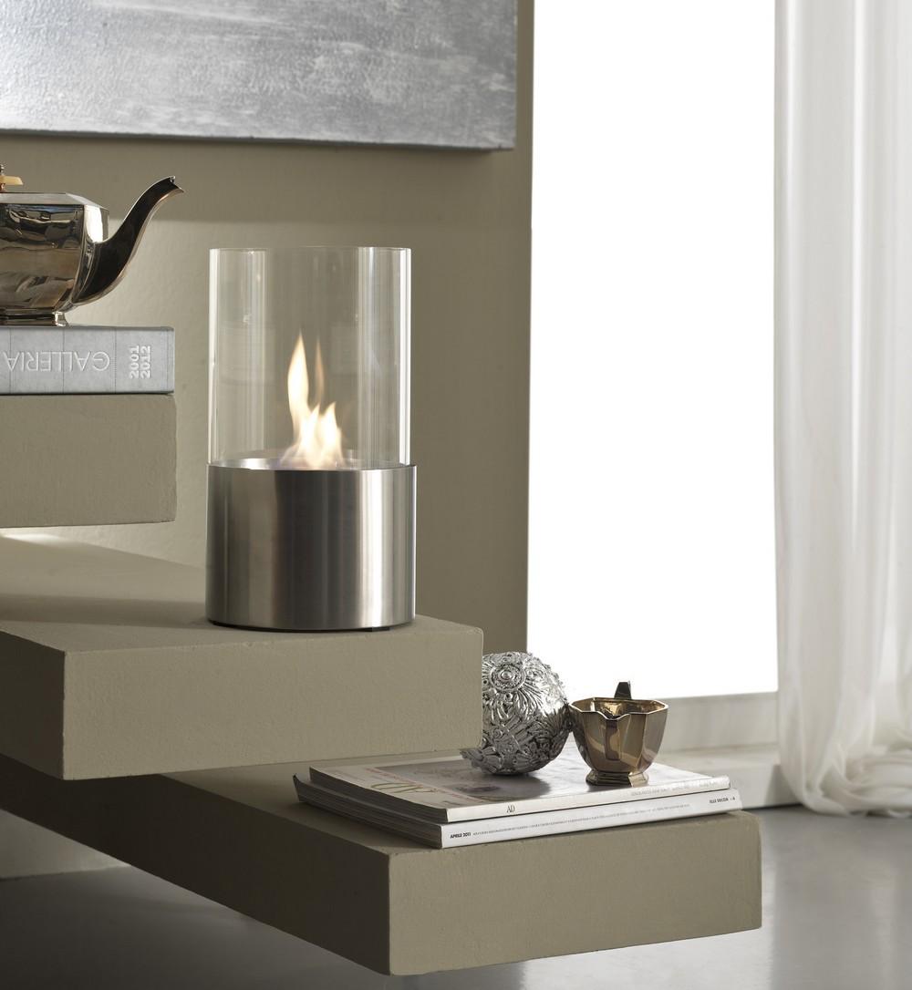 Caminetto a bioetanolo da tavola con base in acciaio satinato o bianco - Caminetto esterno moderno ...