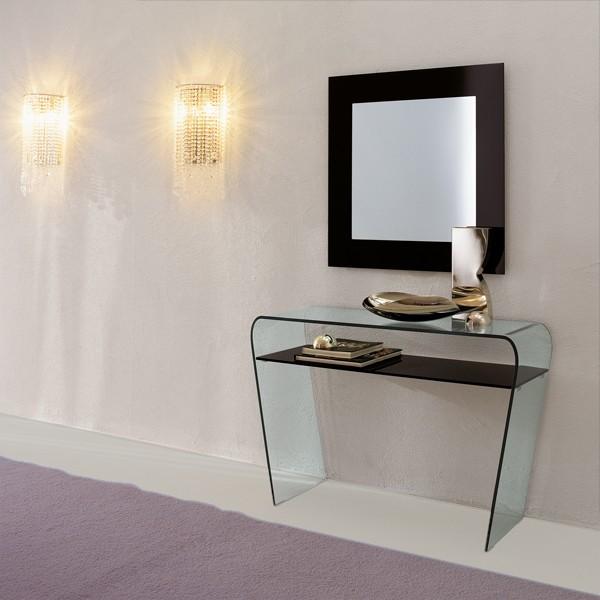 Consolle fissa in vetro curvo e ripiano in vetro o legno for Consolle vetro