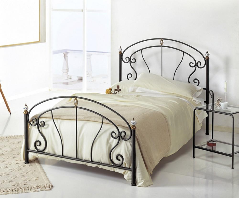 Letto in ferro battuto bolero 120 di cosatto con decorazioni ceramica - Testiere letto ferro battuto ...