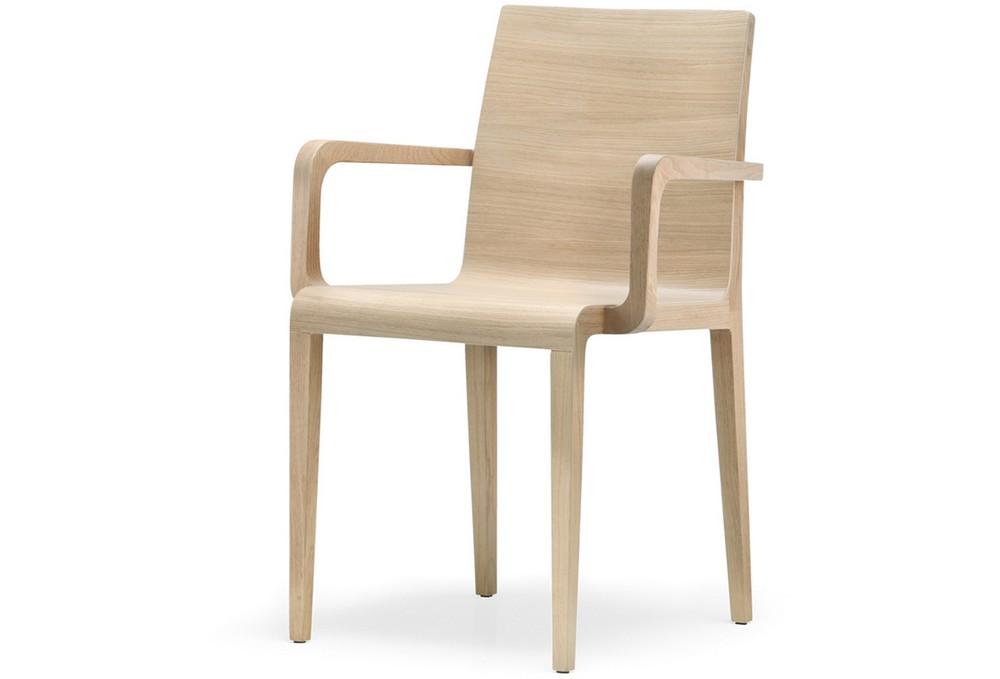 sedia young 425 con braccioli in legno multistrato curvato