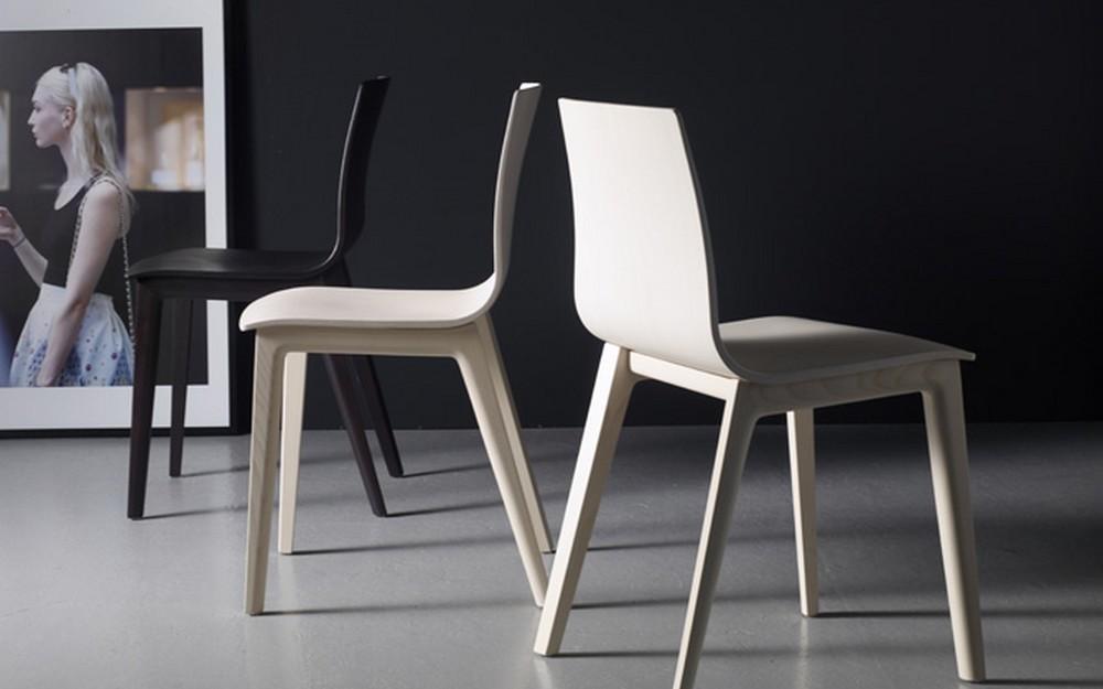Sedia smilla di scab design con scocca e telaio in legno for Sedia di design