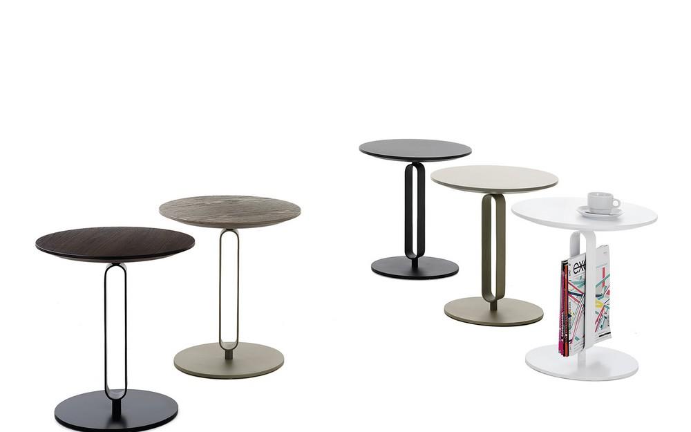 Tavolino portariviste con piano rotondo in legno Alfred di Bontempi