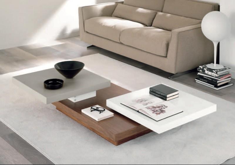 Tavolino da salotto, in legno e laccato opaco bianco e grigio tortora