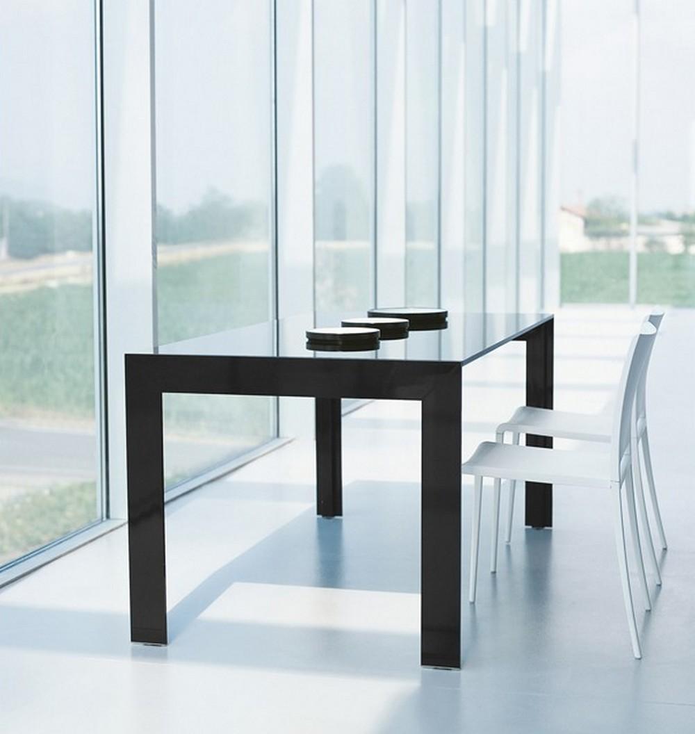 Tavolo allungabile matrix tma pedrali con struttura in for Piano tavolo vetro