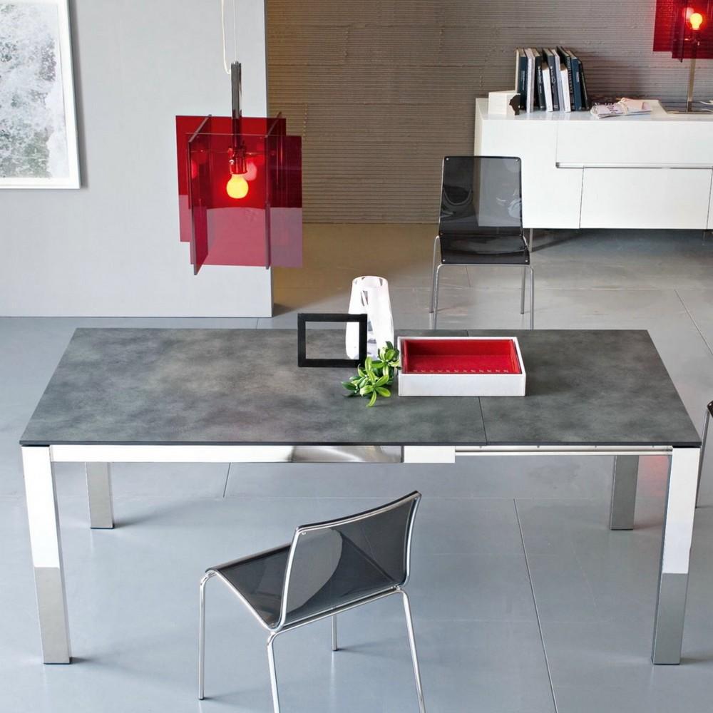 Tavolo allungabile baron 160 di connubia con piano in for Tavolo cemento calligaris