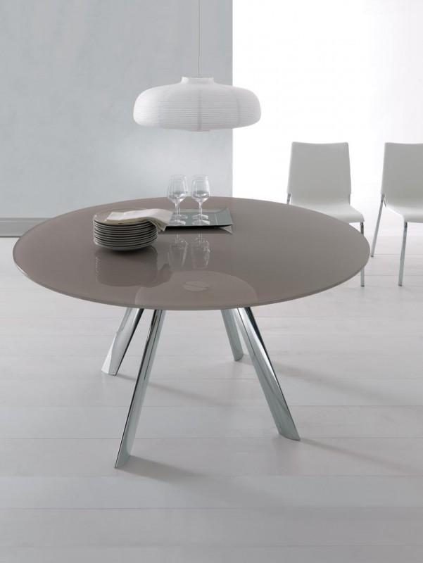 Giro di Bontempi : tavolo rotondo allungabile con piano in cristallo