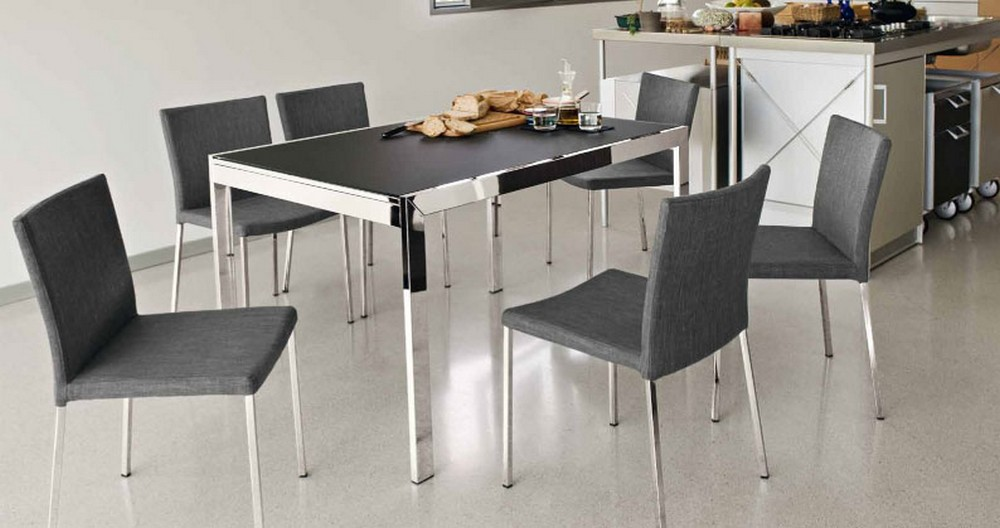 Tavolo allungabile cm 90 Key di Connubia by Calligaris con piano in vetro
