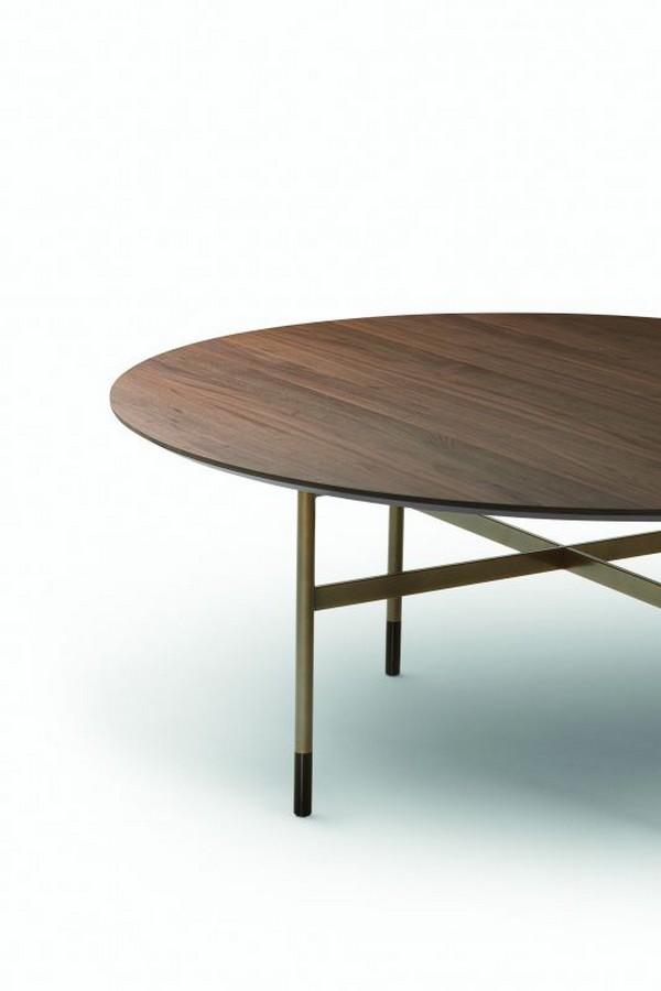 Tavolo Glamour Rotondo di Bontempi con piano in legno, cristallo o marmo