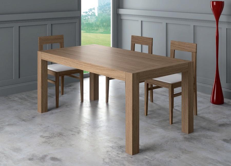 Tavolo moderno Frank rettangolare con gambe quadrate o a trapezio in legno