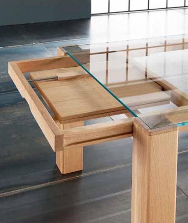Tavolo Con Piano In Vetro.Tavolo Sidney Allungabile Di Altacorte In Legno Con Piano In Vetro