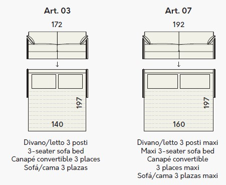 Dimensioni Divano 3 Posti.Divano Letto Teseo Rivestito In Ecopelle O Tessuto