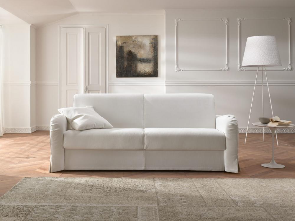Divano a letto a due posti rivestito in tessuto naturale for Divano letto 2 posti piccolo