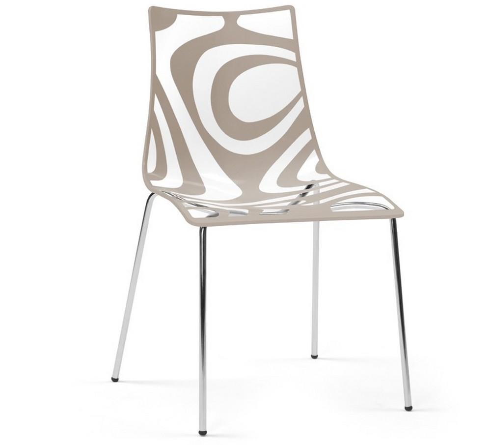 Sedia Wave a 4 gambe, in plastica, struttura acciaio, colorata, moderna