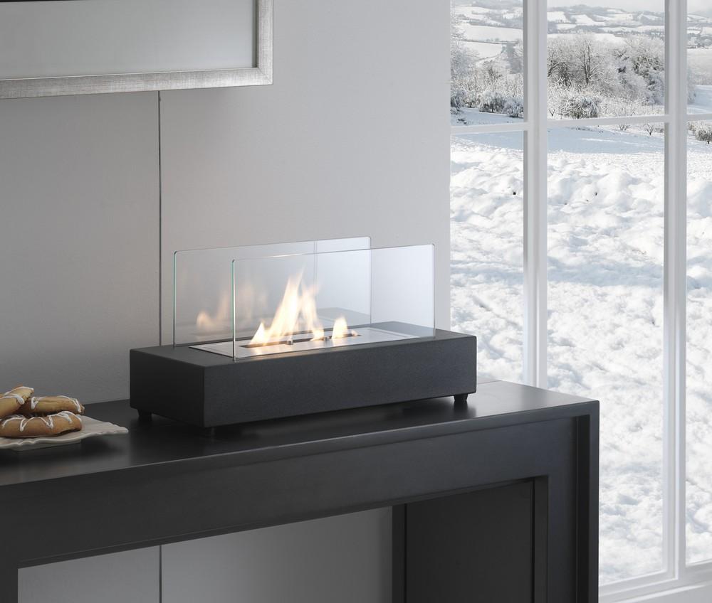 Caminetto a bioetanolo da tavola a base rettangolare in metallo nero - Caminetto esterno moderno ...