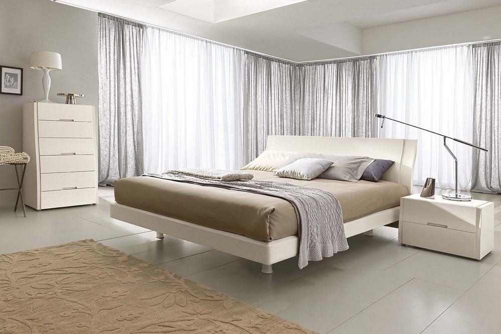 Comodino in legno dotato di due cassetti musa di napol - Camere da letto moderne bianche ...