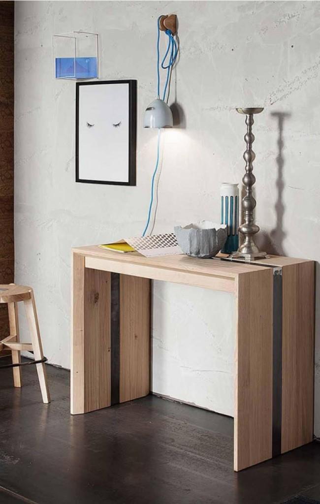 Consolle manhattan in legno rovere allungabile fino a 288 for Consolle di design