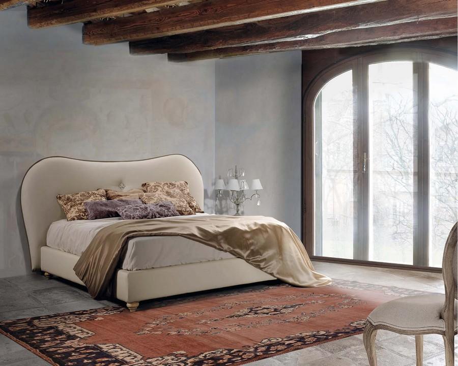 Letto matrimoniale bernadette di lettissimi in tessuto o ecopelle - Giroletto matrimoniale ...
