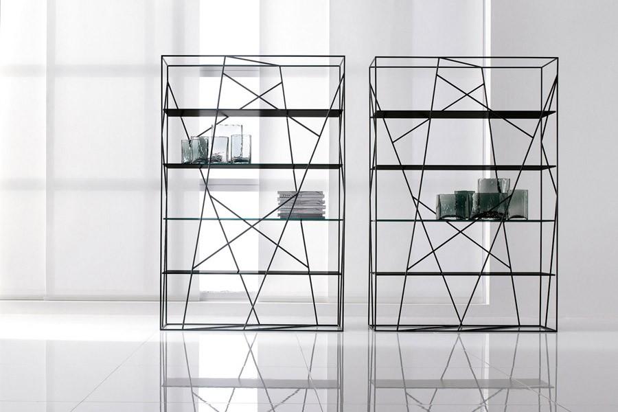 Libreria naviglio di tonin casa con ripiani in vetro o legno for Piccoli piani di casa in metallo