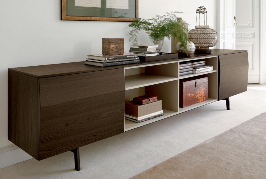 Amsterdam sideboard by Bontempi in wood central compartment per day