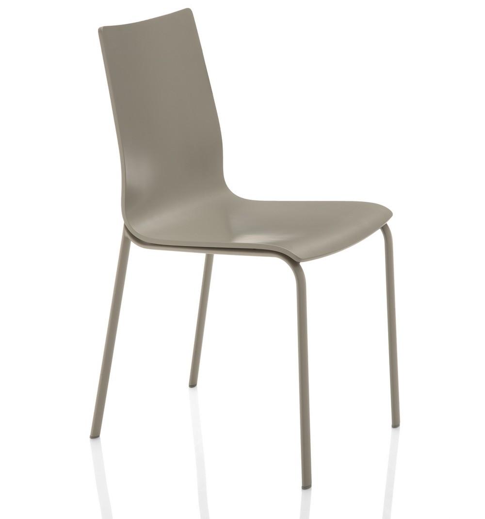 Sedia alfa di bontempi con seduta in legno o imbottita for Sedie acciaio e legno