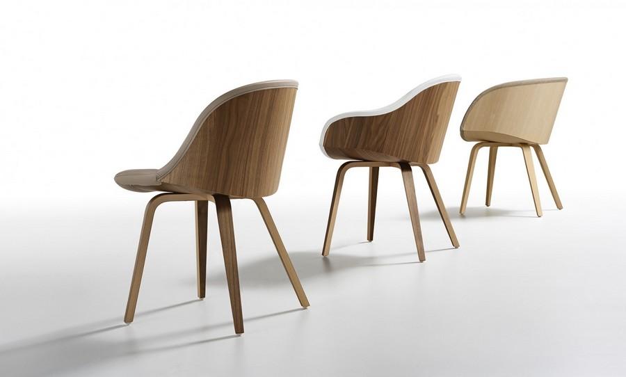 Sedie In Legno Imbottite : Sedia danny di midj con base in legno e scocca imbottita