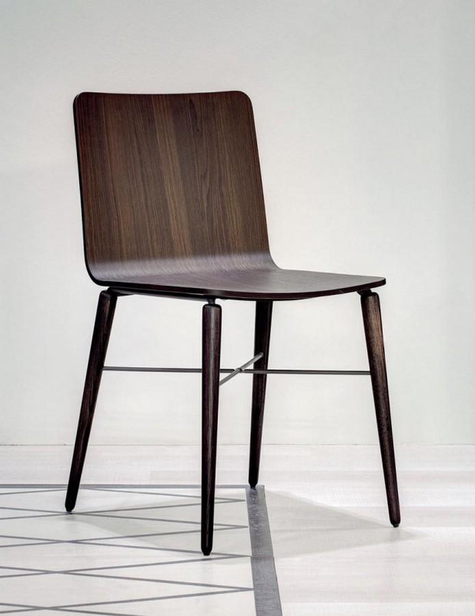Sedia kate di bontempi con seduta in legno for Sedie acciaio e legno
