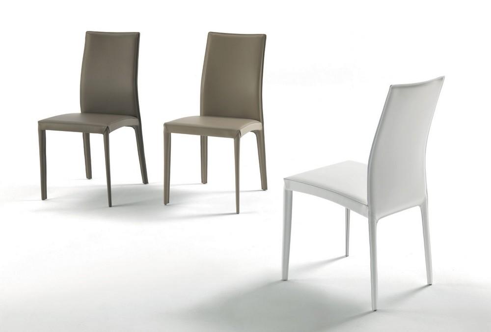 Sedia Moderna Cuoio Dalila Bontempi : Sedia kefir di bontempi con struttura in acciaio rivestita
