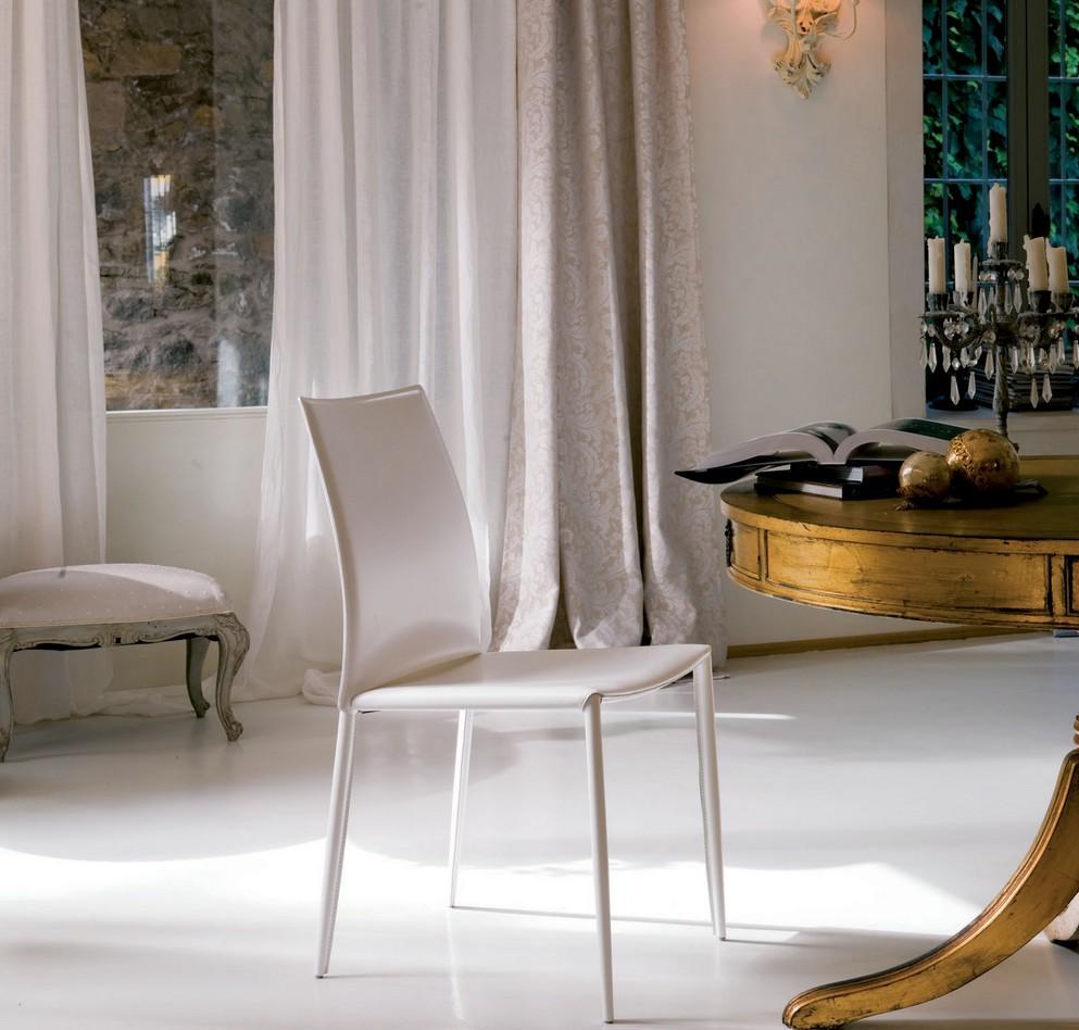 Sedia Moderna Cuoio Dalila Bontempi : Sedia linda di bontempi con struttura in acciaio
