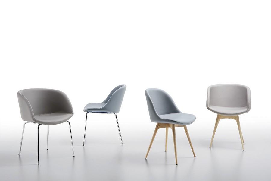 Sedia sonny di midj con struttura in acciaio o legno for Design sedia ufficio