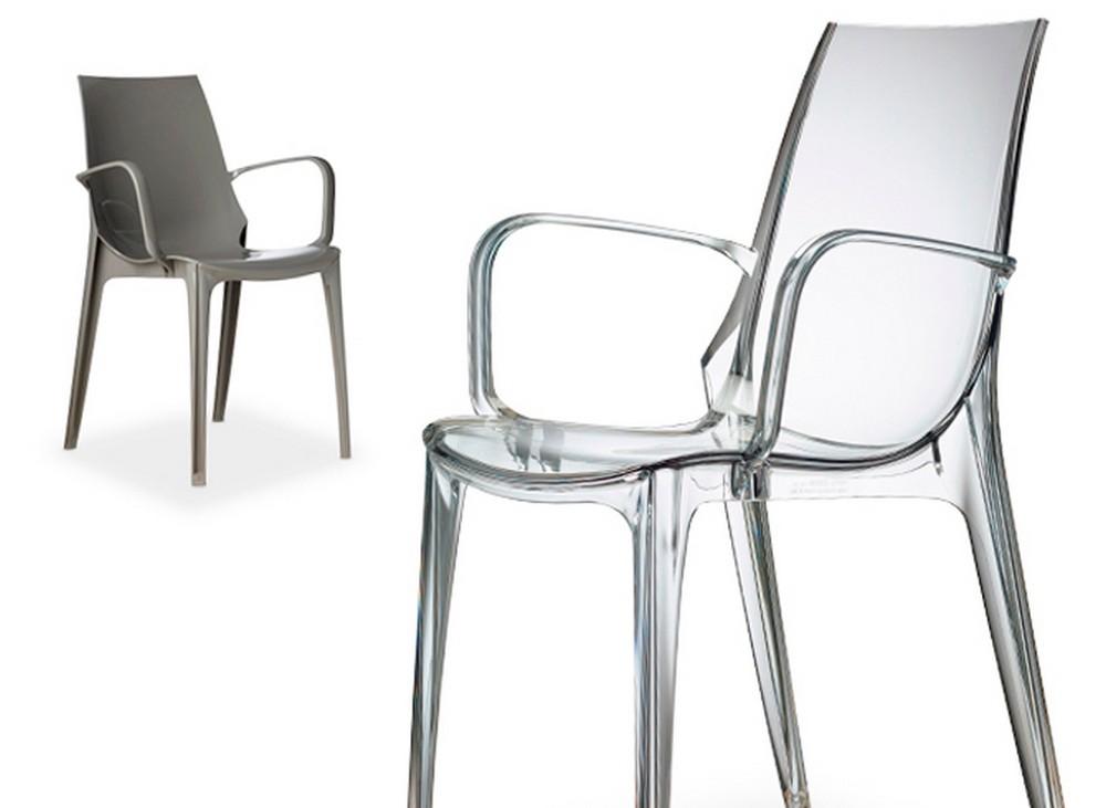 Sedia impilabile in plastica vanity di scab design per for Sedia antica con braccioli