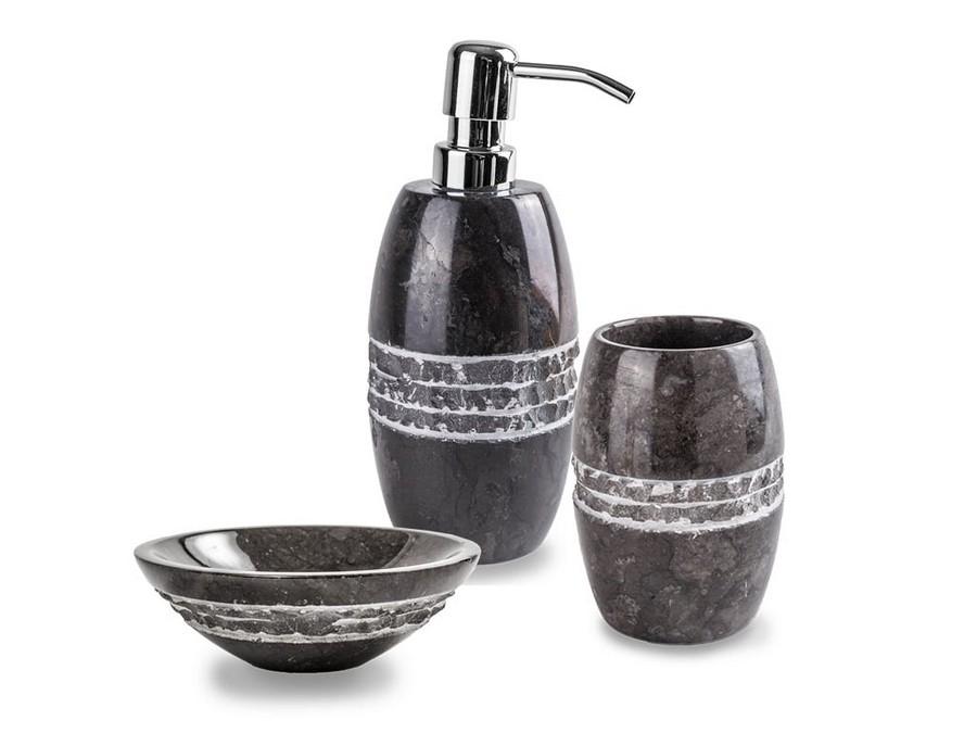 Set da bagno merapi nero di cip in marmo nero for Accessori da bagno