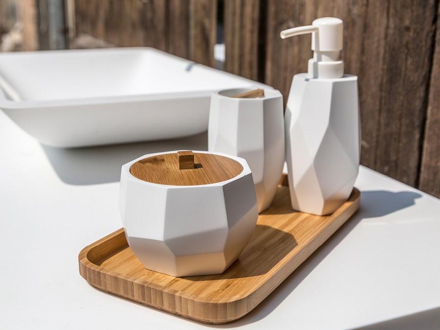 Bagno Legno Bianco : Set da bagno surface bamboo di cipì in resina bianco