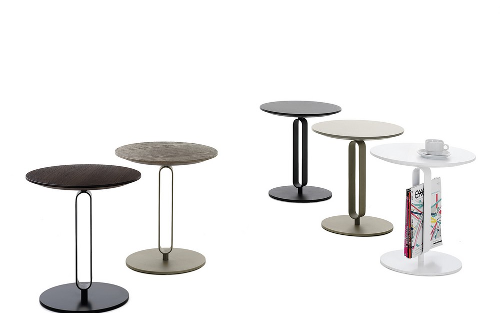 Tavolino portariviste con piano rotondo in legno alfred di for Tavolini piccoli da cucina