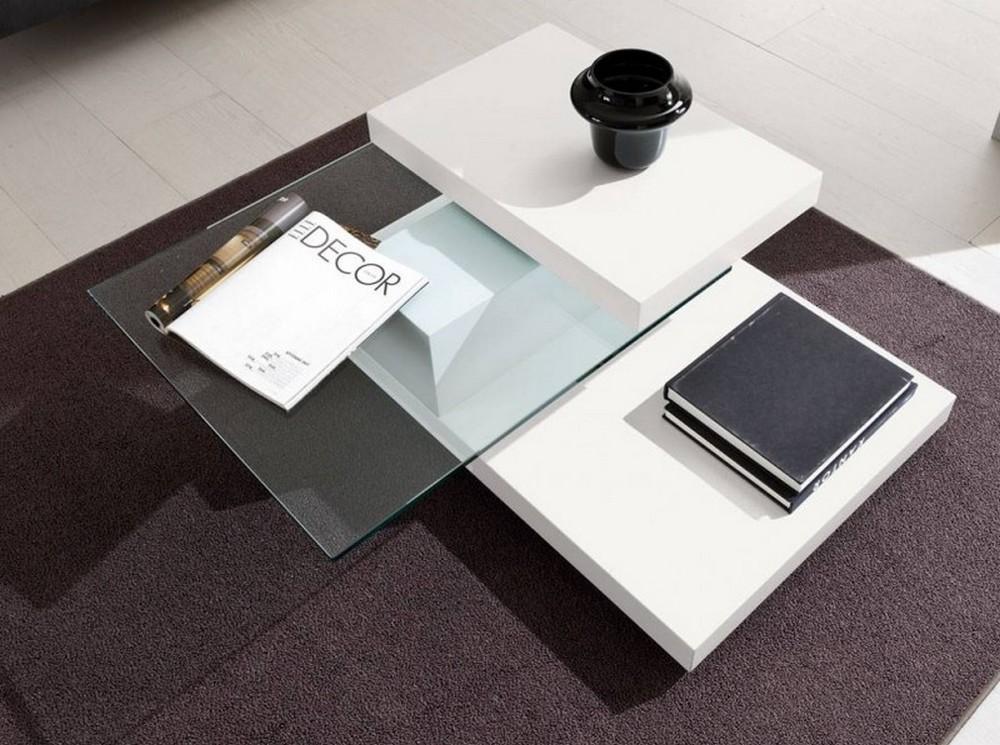Tavolino Soggiorno Bianco: Tavolino salotto tavolo moderno bianco lucido con vetro in mezzo.