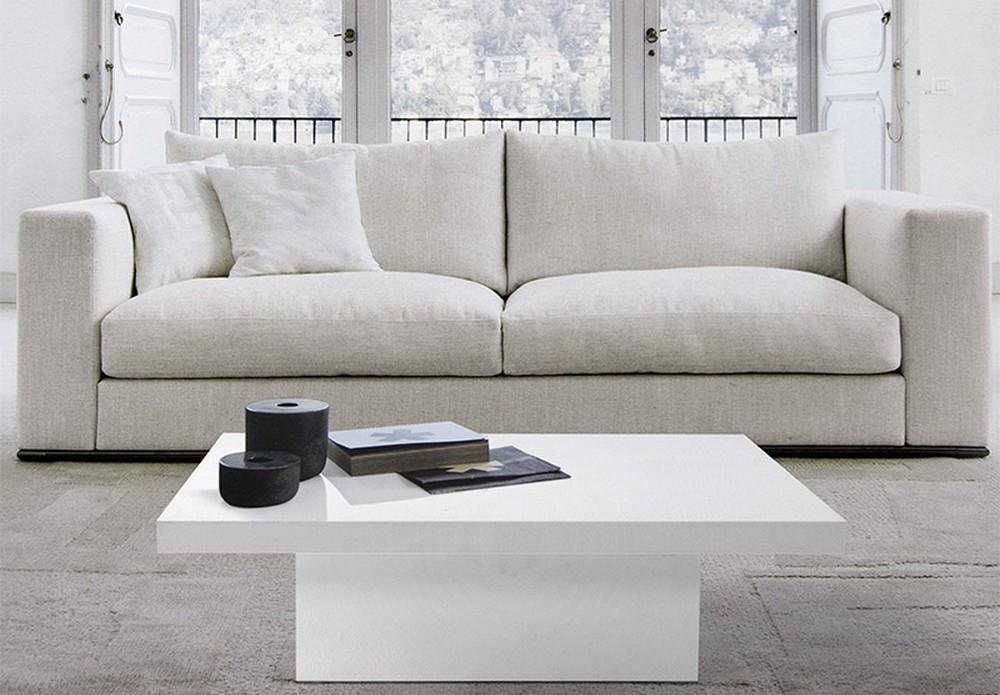 Tavolino da salotto con piano e struttura in laminato for Arredamento moderno bianco