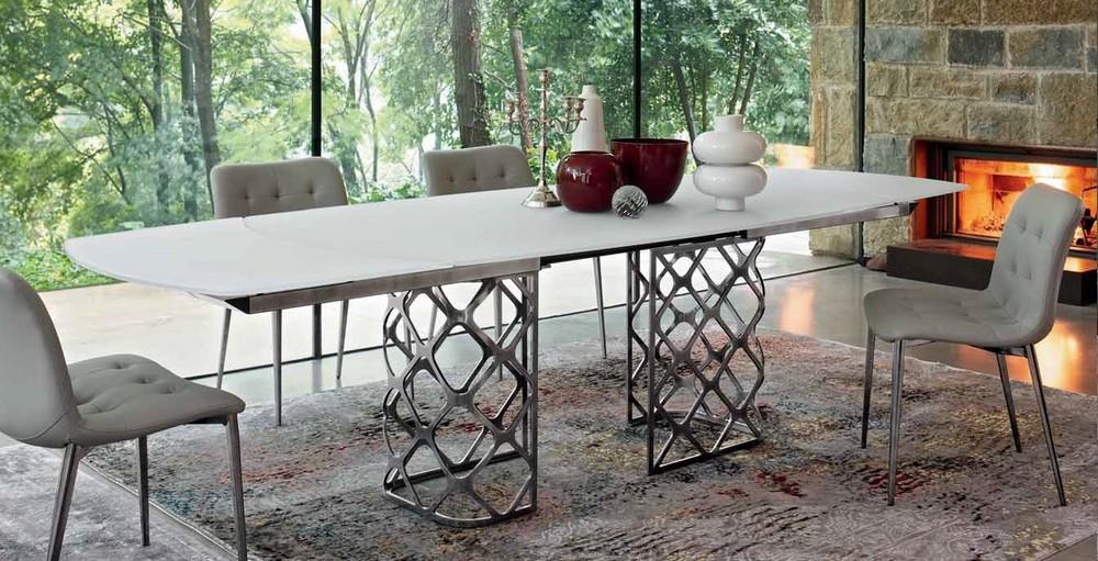 tavolo majesty rettangolare allungabile con piano in legno ... - Tavolo Allungabile Rettangolare