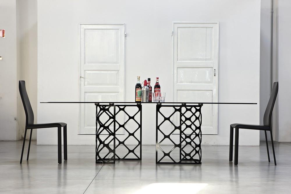 tavolo majesty rettangolare allungabile con piano in legno o cristallo - Tavolo Allungabile Rettangolare