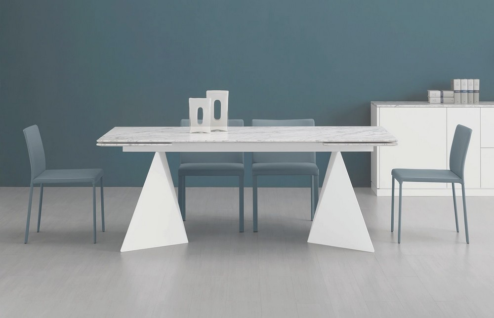 Piano In Vetro Per Tavolo.Tavolo Euclide A Rettangolare Allungabile Struttura Acciaio Piano