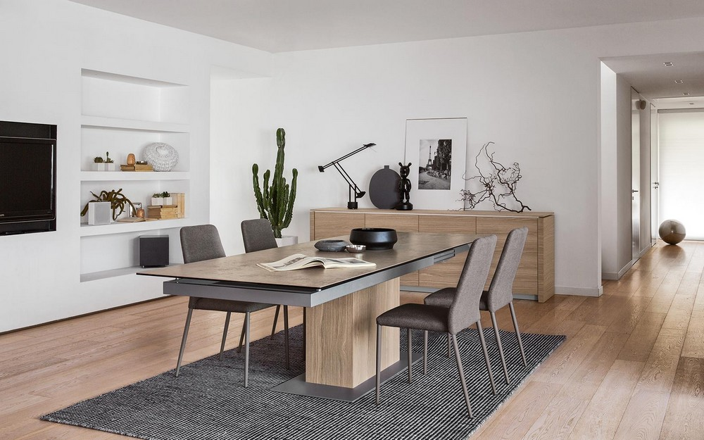 synchro calligaris extendable table with glass top metal structure - Calligaris Cucine