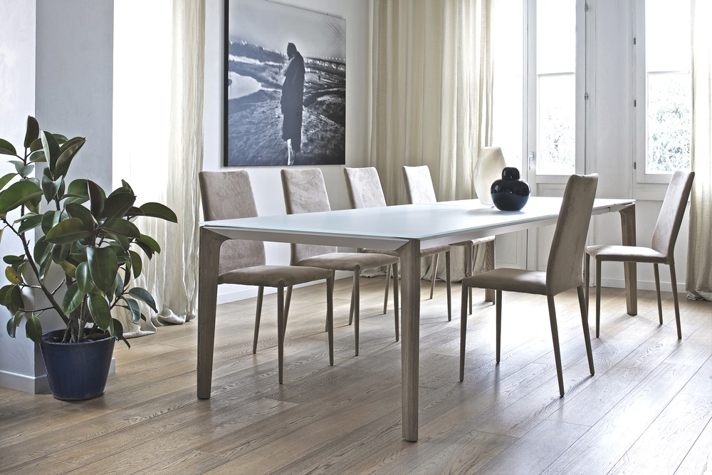 Extendable table by bontempi versus with wooden legs wood for Table extensible 160 cm