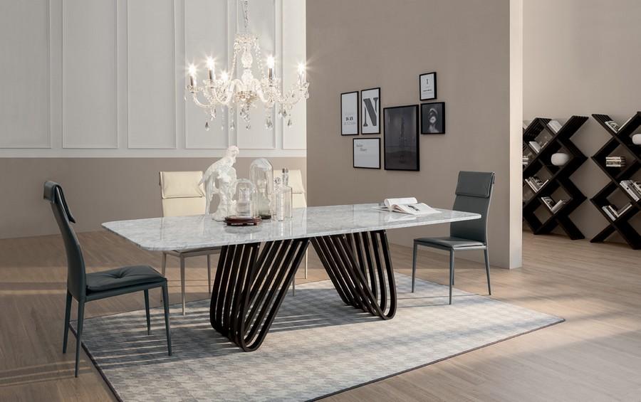 Tavolo Arpa di Tonin Casa fisso e allungabile in diverse dimensioni
