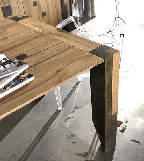 Tavolo arri robusto in legno rovere vecchio pregiato con gambe in legno gambe in ferro dritte o - Tavoli in legno vecchio ...
