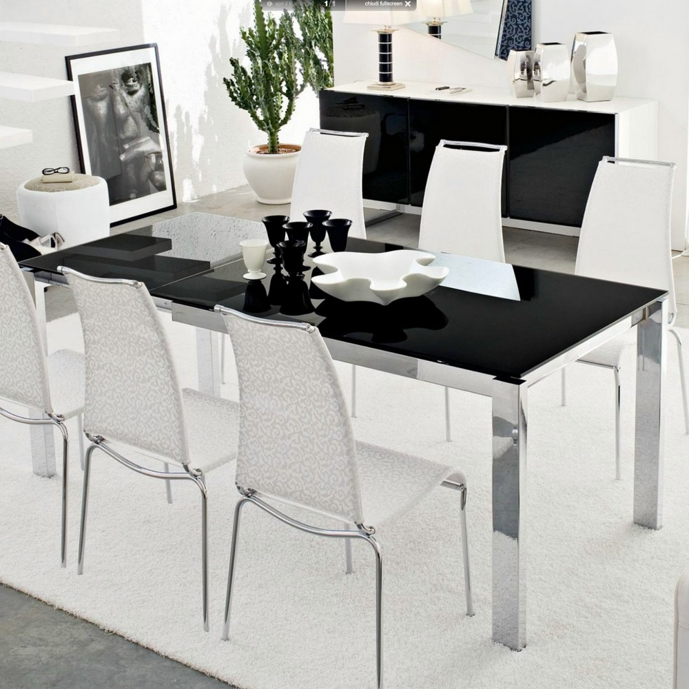 baron extending table 160 with top connubia ceramic or tempered glass - Calligaris Cucine