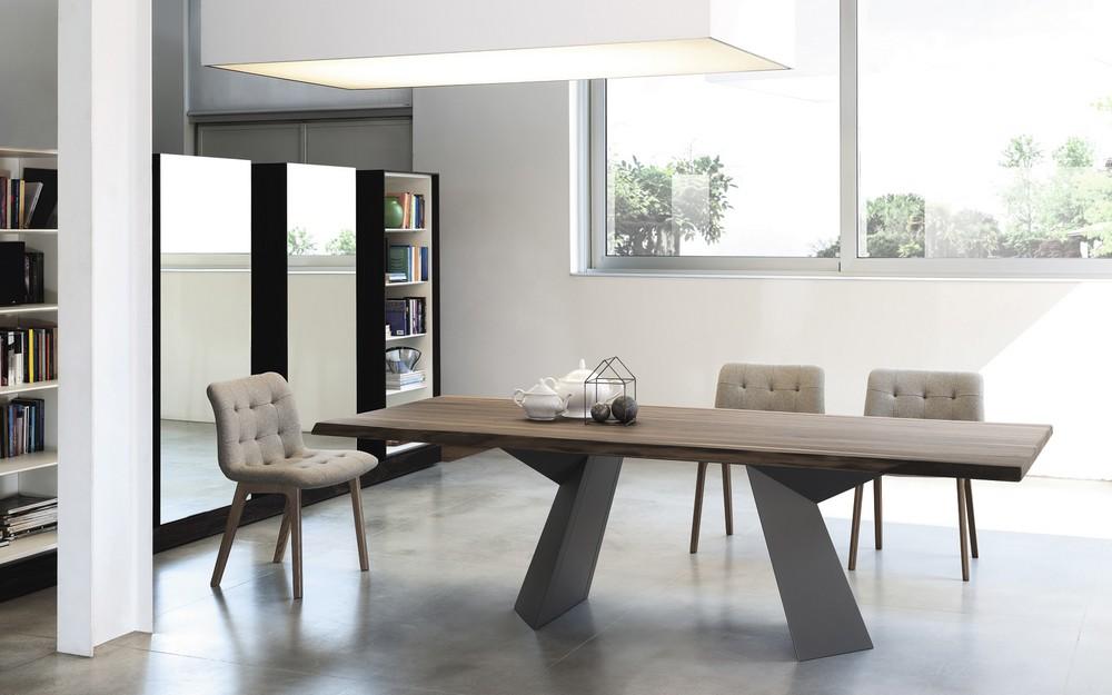 Tavolo fisso e allungabile fiandre bontempi piano in legno for Tavolo in cristallo moderno