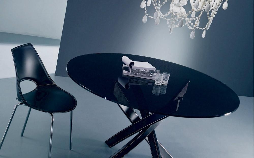 Tavolo Barone di Bontempi con piano in cristallo elegante moderno