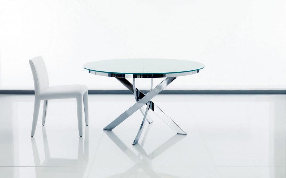 Tavolo barone di bontempi con piano in cristallo elegante for Tavolo ovale allungabile moderno